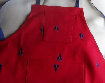 SALE,  Toddler Apron, Christmas Red with blue sailboats, 2 pockets, sz 3-8.   Ready to ship.