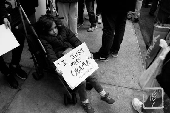 """""""I Just Miss Obama,"""" New York City Women's March, 2017."""