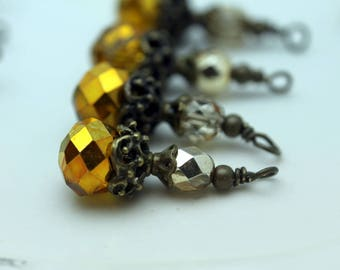 Yellow Gold Crystal Rondelle and Gold Czech Beaded Dangle Charm Drop Pendant, Earring Dangle