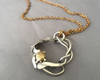 Brass Turtle and silver Kelp pendant on 18 inch brass chain ready to ship