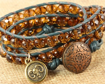 Aries Bracelet, Star Sign Jewelry, March Birthday, Boho Wrap Bracelet, Astrological Signs, Zodiac Jewelry, Horoscope Bracelet, Leather Wrap