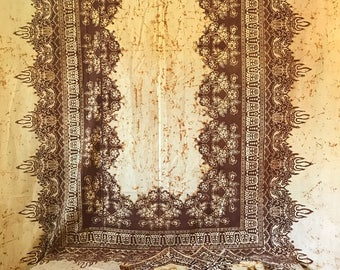 vintage cotton tablecloth and napkins - boho batik block print - brown hippie curtain bedspread