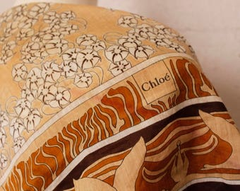 Vintage 1980's Chloe Scarf Brown Tan Cotton