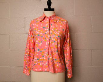 Vintage 1960's Hot Pink Floral Button Down Shirt S