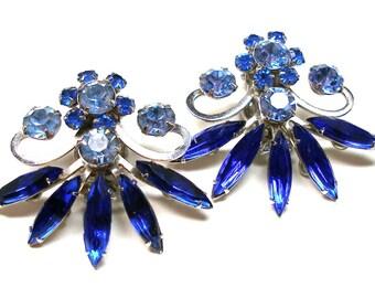 80s Rhinestone earrings, Crystal & indigo blue in silver, clip-on.