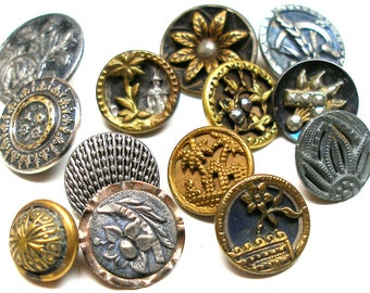 Antique BUTTONS, 13 Victorian metal shabby chic picture buttons with flowers.