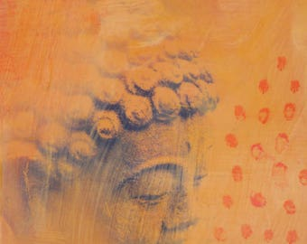 original small affordable art - Blue Buddha on Yellow, Orange Dots - one of a kind acrylic painting by Irene Stapleford - wantknot shop