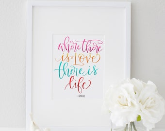 Hand Lettered Art Print Gandhi Quote Gorgeous Home Decor Instant Download Psalms 55:22