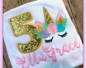 Unicorn Birthday Shirt, Unicorn Bodysuit,  Unicorn Cake Smash, Unicorn First Birthday, Unicorn 1st Birthday