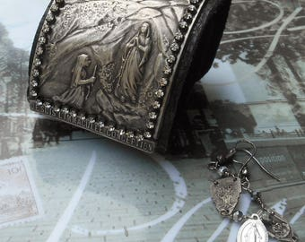 Say a Little Prayer for You Antique Silver Lourdes Leather OOAK Cuff & Earrings