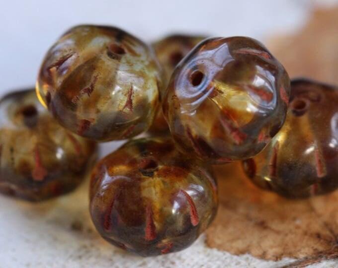 BROWN PUMPKINS .. 6 Premium Picasso Czech Glass Beads 8x12mm (B9008-6)