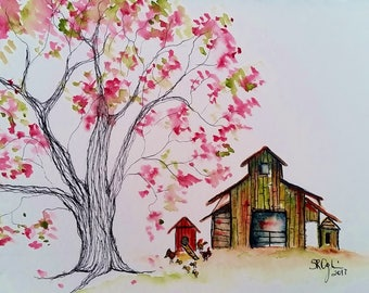 NEW, Another Pretty Day, 5 x 7, Original watercolor and ink
