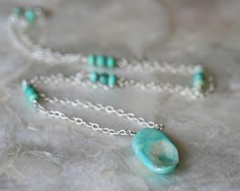 Druzy Necklace, Teal Druzy Necklace, Chrysoprase Necklace, Silver Necklace, Druzy Jewelry, Crystal Necklace