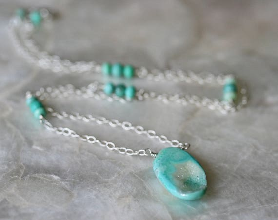 Druzy Necklace with Chrysoprase Accents