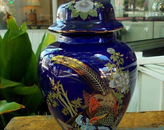 Porcelain Cobalt Blue Asian Hexagonal Ginger Jar By Brinn / Peacock Fowl Painted in Gold Trim Odorned With Feathers / Blue Lotus And Bamboo