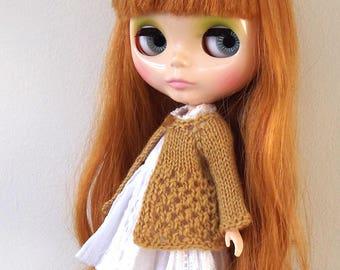 BLYTHE CARDIGAN/TOP, Mustard colour..Blythe outfit, Blythe clothes, Blythe knitted top/blythe crochet