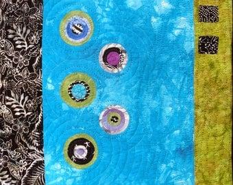 Rotations   Aqua & Lime Modern Art Wall Quilt