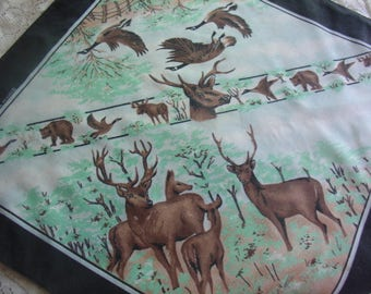 Wildlife Bandana, White with Black Border, Vintage, Made in USA, Cotton and Polyester, Deer, Bear, Geese