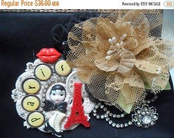 36% OFF Closet Cleaning VINTAGE Altered Purse Clutch Handbag Reworked Embellished Adornments Paris Theme Whimsical