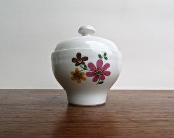 Kahla Sugar Bowl, Gorgeous 3 Daisies Pattern, Mid Century German Porcelain