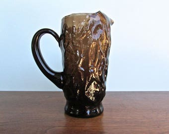 Seneca Glass Co. Driftwood Brown Crinkle Pitcher, Smoky-Cocoa Textured Glass, MCM Morgantown, West Virginia