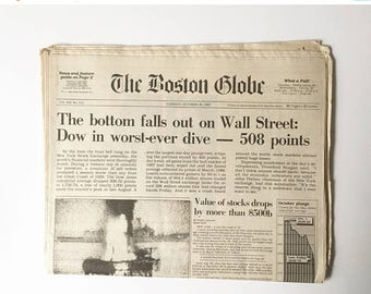 SALE Stock Market Crash Newspaper 1987 Complete Newspaper Historical Newspaper Collectible Newspaper New York Times
