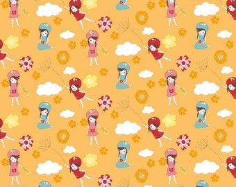 Wistful Winds ~ Little Girls on Orange ~ Designer Cotton by Doohikey Designs for Riley Blake ~ By the Yard