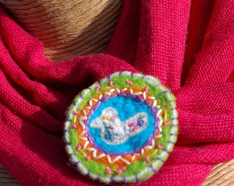 Felted and Embroidered Brooch with Fabric Bird - OOAK- Boho Badge - Bohemian Brooch - Colourful Brooch
