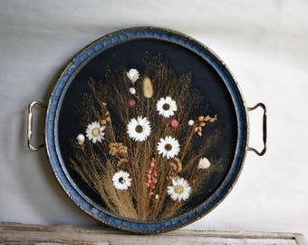 Vintage Pressed Flower Tray Framed Dried Flora Natural History Under Glass Wall Hanging