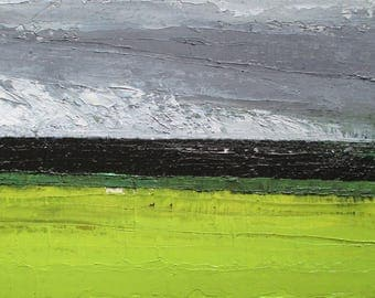 Abstract oil landscape painting, storm painting, cloud painting, greenery