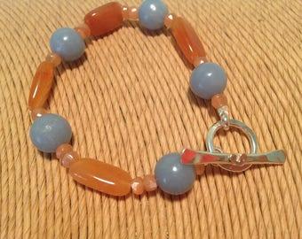 Mixed bead bracelet, Angelite, peach aventurine and peach moonstone bracelet, baby blue bracelet, pastel jewellery, pastel blue beads.