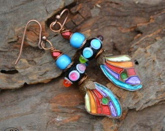 Hand Painted Copper Rainbow Butterfly Wings with Ice Resin and Rainbow Lampwork Bead