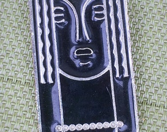 Signed Ritz Pewter with Black Enamel Modernist Picasso Leger Style Brooch Pin