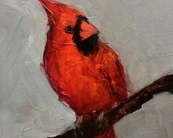 CARDINAL RED BIRD  Art Giclee print from my original oil painting