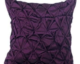 Plum Decorative Throw Pillow Cover, Sofa Pillow Cases 18x18 Couch Pillows Plum Taffeta Texture Pillow Cover - Phenomenal Plum