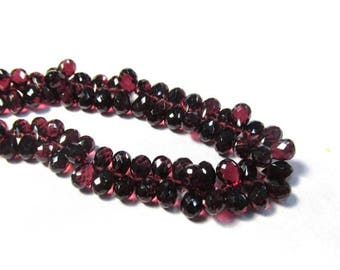 SALE 20% Off AAA Natural Garnet  Briolette Beads 6mm 7mm, Blood Red Garnet Mined In Tanzania