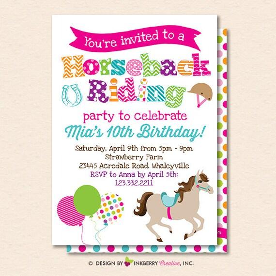 Horseback riding birthday party invitation horseback riding invite il570xn filmwisefo