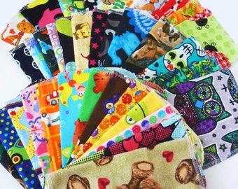 Kids Cloth Napkins 10 Childrens Napkins - Child Cloth Napkins - Reusable Lunchbox Napkins - Boy Girl Neutral Choose Your Mix 9 x 10