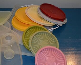 Vintage 60+ Tupperware Lids, S&Ps, Measuring Cup, Etc.