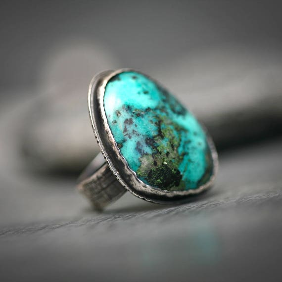 Chrysocolla  Sterling Silver Statement Ring