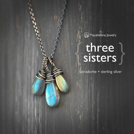 Three Sisters - Labradorite Wire Wrapped Sterling Silver Necklace