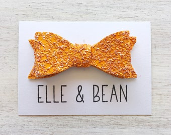 Orange Crush Glitter Emma Bow. Pizza Amore Collection. 3 inch Medium Bow. Clip or Headband. RTS
