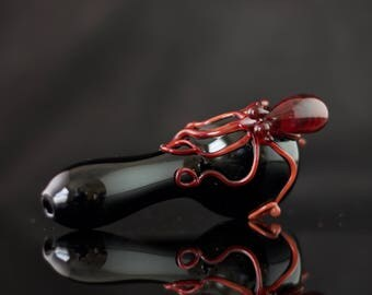 Octopus Glass Spoon Pipe in Black & Ruby, #559