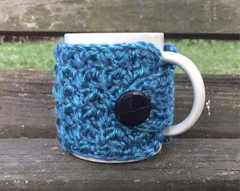 Crochet mug cozy cup cozy button wrap in ocean blue