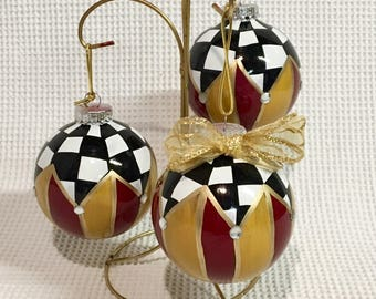 Christmas Tree Ornament (1) // checkered Ornament // Whimsical Painted Ornament Check// Black and White Ornament