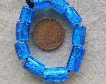 10 tropical Sea Aqua Dichroic Assorted Tube Beads Lampwork Handmade BY Dee Howl Beads