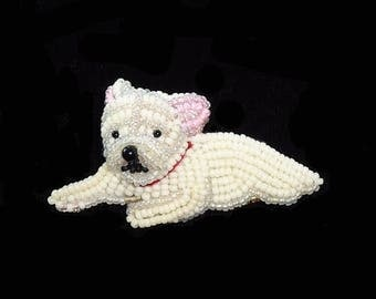 FRENCH BULLDOG PUPPY beaded keepsake dog art pin pendant art jewelry (Made to Order)