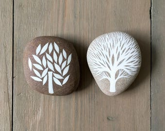 Winter and Summer Trees - Painted Stones - Beach Pebble, Nature, Rock Art - by Natasha Newton