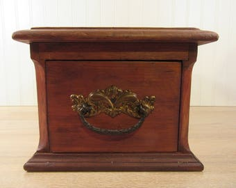Old dresser top wood enclosed drawer- glove box- solid, functional, nice condition, enclosed back