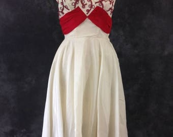 ON SALE Vintage 1950's white and red rayon taffeta strapless dress. Red soutache and rhinestones.